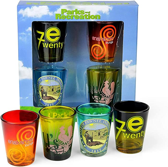 Parks and Recreation Location Logos 4-Piece Shot Glass Set - Features City of Pawnee Seal, JJ's Diner, Snakehole Lounge & Entertainment 720 Symbols On 2-Ounce Glasses - Great for Use at Home, Parties