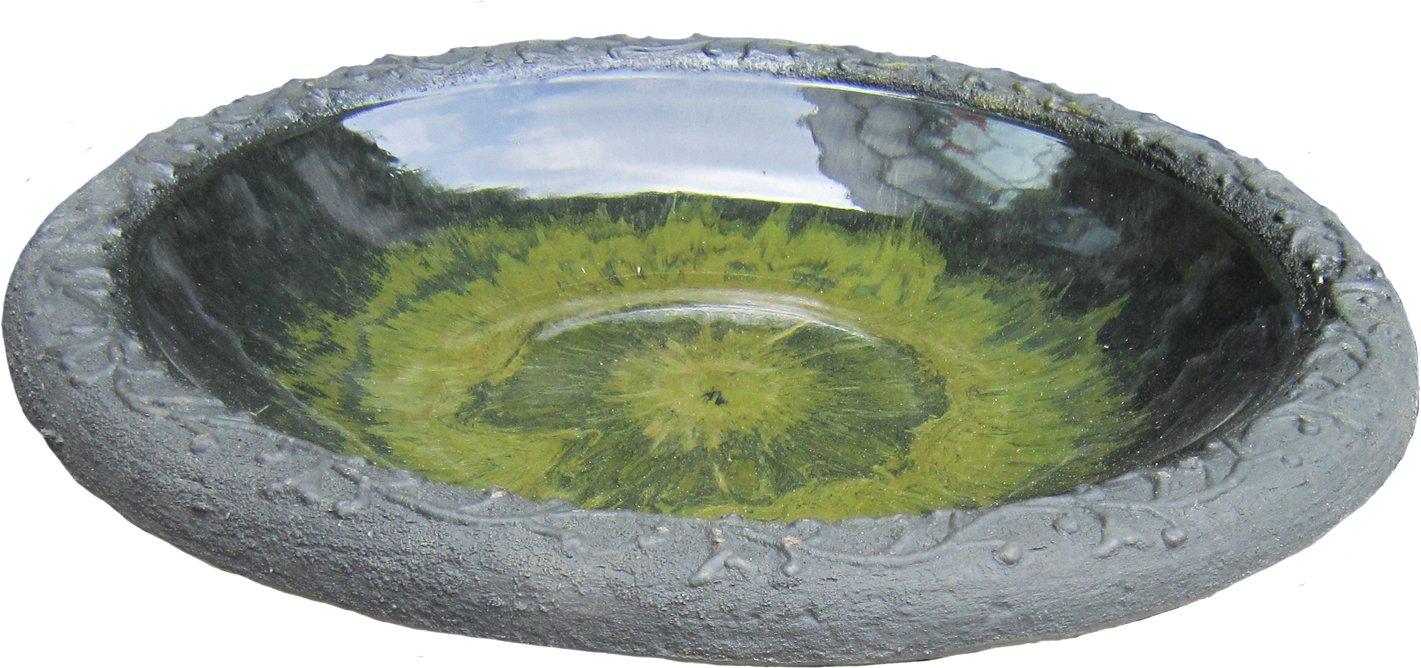 Tierra Garden 4-8184T Gloss Bird Bath Bowl with Matte Rim, Light Green