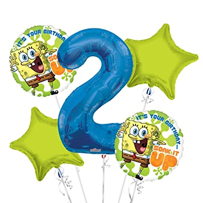 Sponge Bob It's Your Birthday Soak it Up Balloon Bouquet 2nd Birthday 5 pcs - Party Supplies: Health & Personal Care