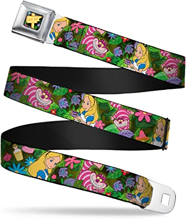 Alice /& Cheshire Cat Poses//Flowers 20-36 Inches in Length 1.0 Wide Buckle-Down Seatbelt Belt