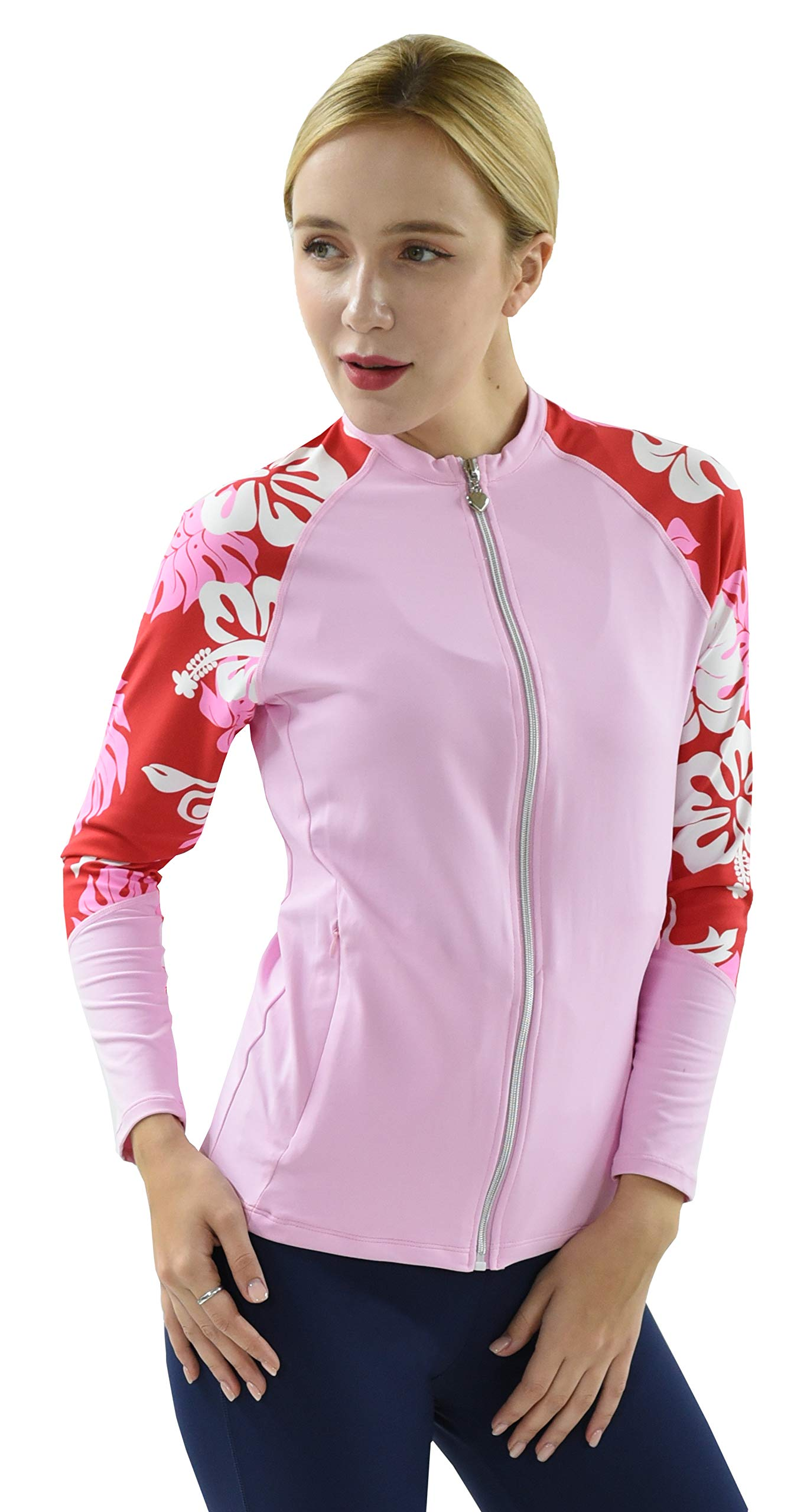 Private Island Hawaii UV Women Rash Guard Zip Up Long Sleeve Yoga Active Workout (S, PwRW-JRSRGT) by Private Island