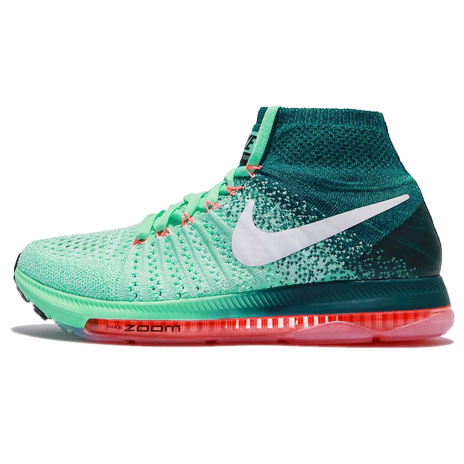 Nike Women's Zoom All Out Flyknit Running Shoes B01M3PNDN4 7 B(M) US|Green Glow/White-midnight Turq