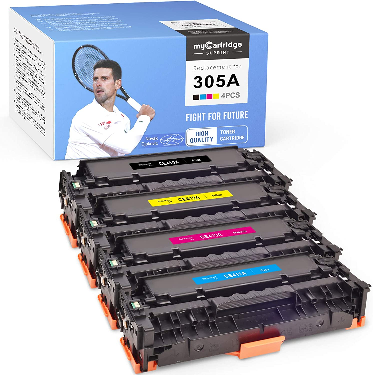 myCartridge SUPRINT Compatible Toner Cartridge Replacement for HP 305A 305X CE410A CE410X use with Laserjet Pro 400 M451dn M451nw M475dn M475dw M451dw M375nw M351A (Black Cyan Magenta Yellow, 4-Pack)