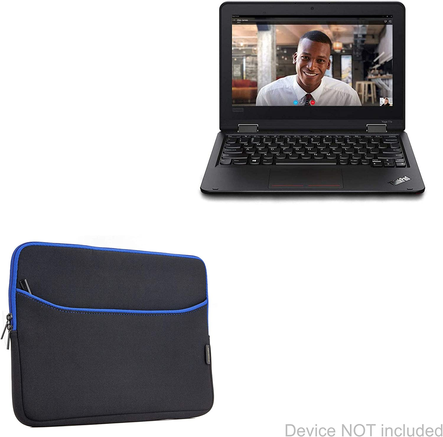 Lenovo ThinkPad Yoga 11e (5th Gen) (11.6 in) Case, BoxWave [SoftSuit with Pocket] Soft Pouch Cover w/Sleeve for Lenovo ThinkPad Yoga 11e (5th Gen) (11.6 in) - Jet Black with Blue Trim