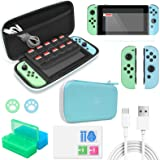 Accessories Kit Bundle Compatible with Nintendo Switch,12 in 1 Essential Protection Kits with Carrying Case, Game Storage Cas