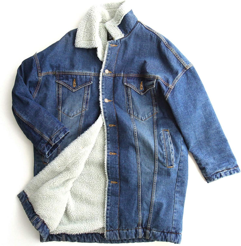 ZumZup Women Long Denim Jacket Coat Fleece Lined Thick Loose Jeans Jacket Coat
