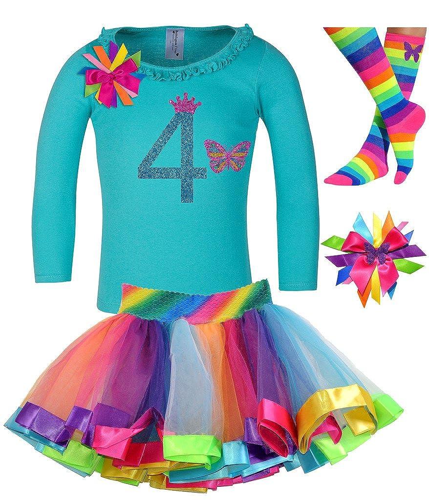 Bubblegum Divas Little Girls 4th Birthday Butterfly Shirt Rainbow Tutu Socks Hair Bow 4pc Gift Set