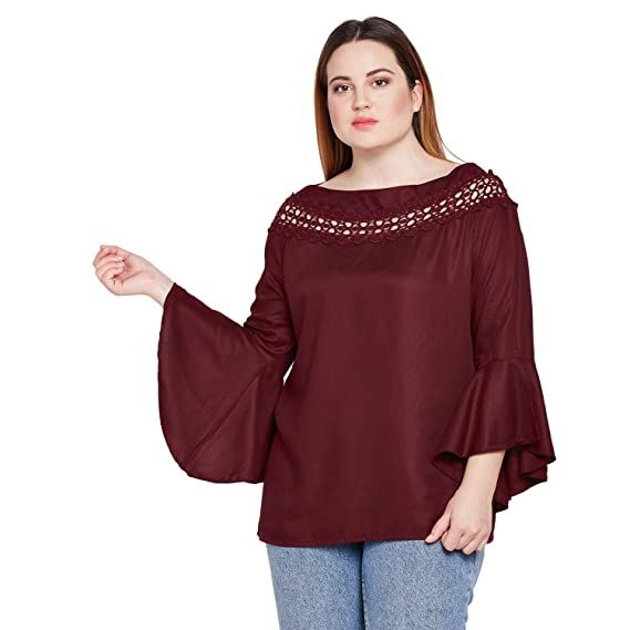 dfbfe9327a0 STYLE QUOTIENT Women Maroon Broad Lace Bell Sleeve Plus Size Tops for Women Western  Wear Causal Party top for Girls Big Size - Maroon  Amazon.in  Clothing   ...