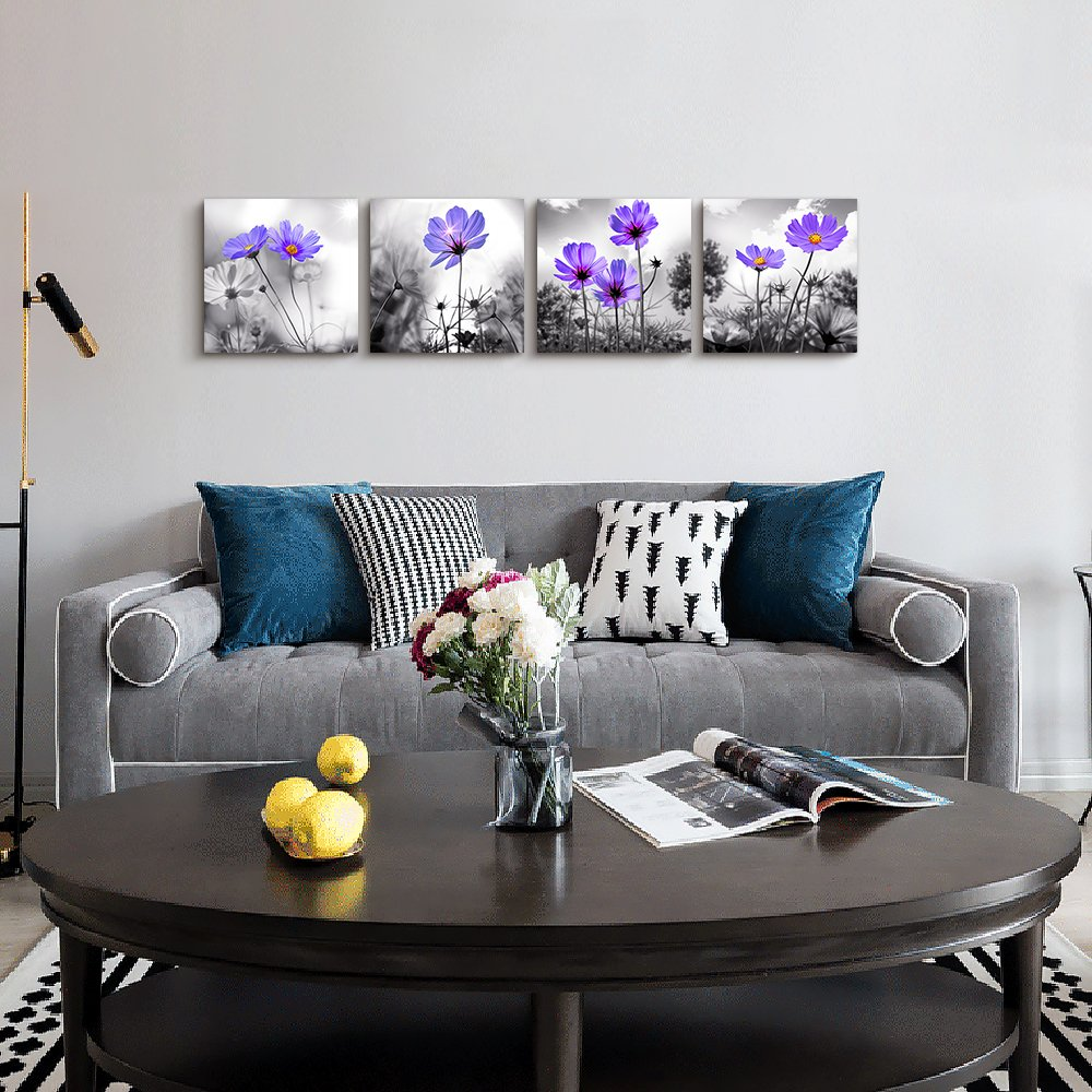 Why White Kitchen Interior Is Still Great For 2019: Wall Art For Living Room Black And White Purple Flower