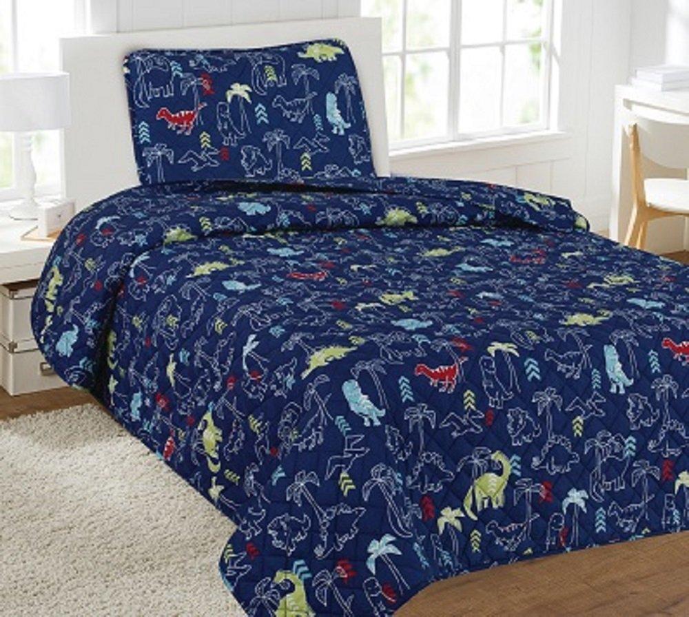 WPM 2 Piece TWIN Quilt Set Kids/Teens Dinosaur Navy Jungle Animal Print Design Luxury bedding New