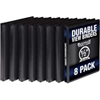 Samsill S88410 3 Ring Durable View Binders - 8 Pack, 1/2 Inch Round Ring , Non-Stick Customizable Clear Cover, Black