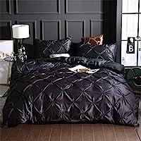 Erosebridal Pinch Pleated Duvet Cover Set Black Twin Size Silk Like Satin Pintuck Bedding Set with Zipper Ruffle Design…