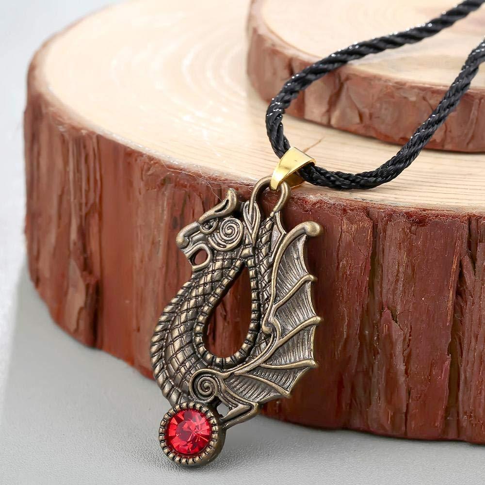 Dragon Vintage Necklaces For Men Re Crystal Rope Pendants Viking Slavic Bronze Necklace Male Clothes Accessories