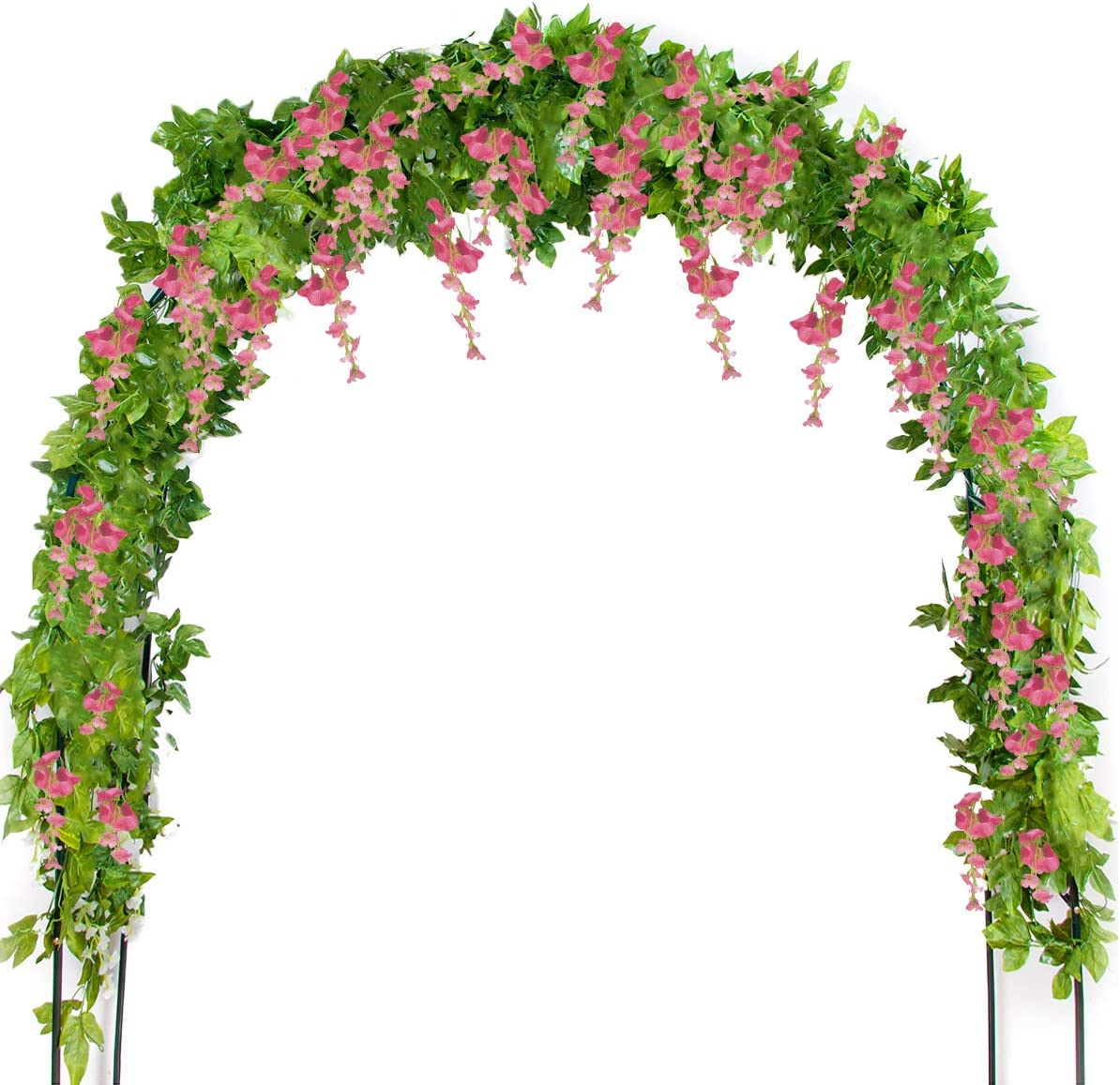 Mavee 4 Pcs 7.2 Feet Artificial Flower Vine Silk Wisteria Garland Hanging Rattan with Ivy Leaf for Wedding Home Decor (Pink)