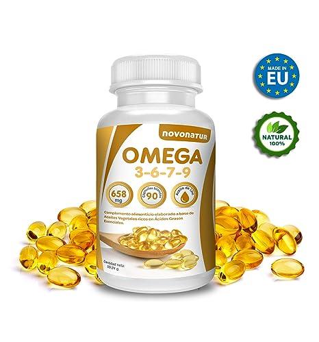 Omega 3 6 7 9, 90 perlas enriquecidas con aceite de lino, onagra, oliva, germen de trigo y nueces de Macadamia, beneficioso para el corazón, vista y ...