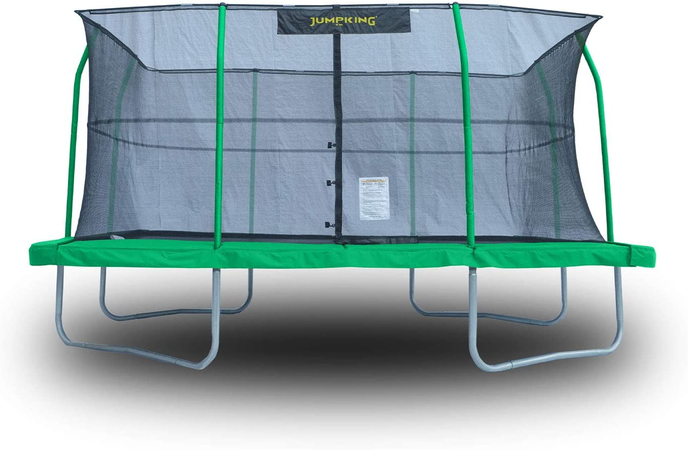JumpKing 10 x 14 Trampoline with Safety Net and XDP Recreation Metal Anchor Kit