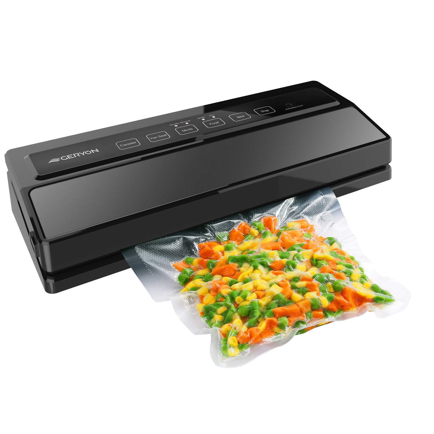 GERYON Vacuum Sealer, Automatic Food Sealer Machine for Food Savers w/Starter Kit|Led Indicator Lights|Easy to Clean|Dry & Moist Food Modes| Compact Design (Black) by GERYON