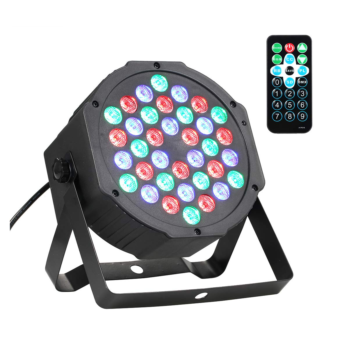 Lrifuer LED Stage Lights 36LED 36W Par Lights by Remote and DMX Control for Wedding Church Christmas party Halloween bar Stage Lighting (4PC) DMX512