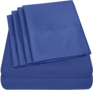 Sweet Home Collection 6 Piece Bed Sheets 1500 Thread Count Fine Microfiber Deep Pocket Set - EXTRA PILLOW CASES, VALUE, RV Short Queen, Royal Blue