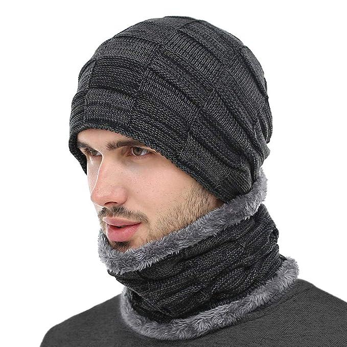 771667fc54a1 BOYOU Unisex Hombres/Mujeres Invierno Cálido Sombrero de Punto Al Aire  Libre de Felpa Engrosamiento Gorro de Punto Sombrero de Esquí para el  Invierno