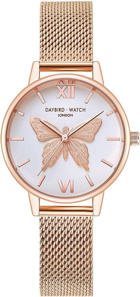 RORIOS Casual Relojes de Mujer Mariposa Dial Pulsera Acero ...