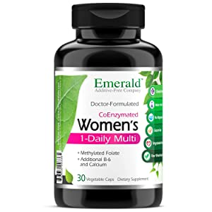 Women's 1-Daily Multi - Complete Daily Multivitamin with CoEnzymes + Vitamin B6 & Calcium - Supports Adrenal Function, Energy Boost, Hormonal Support - Emerald Labs - 30 Vegetable Capsules
