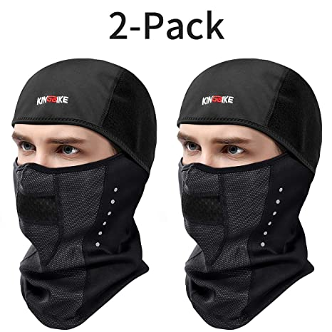 55d1643e1cf Amazon.com  KINGBIKE Balaclava Ski Face Mask Windproof Waterproof Warm Hood  for Men Women (Style 1-Snug Fit(2 PACK))  Automotive