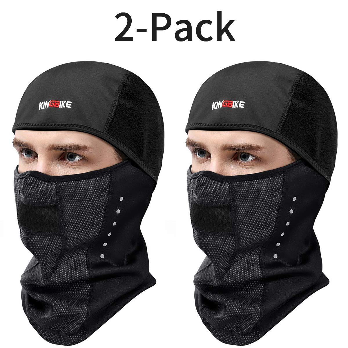 KINGBIKE Balaclava Ski Face Mask Windproof Waterproof Warm Hood for Men Women (Style 1-Snug Fit(2 PACK))