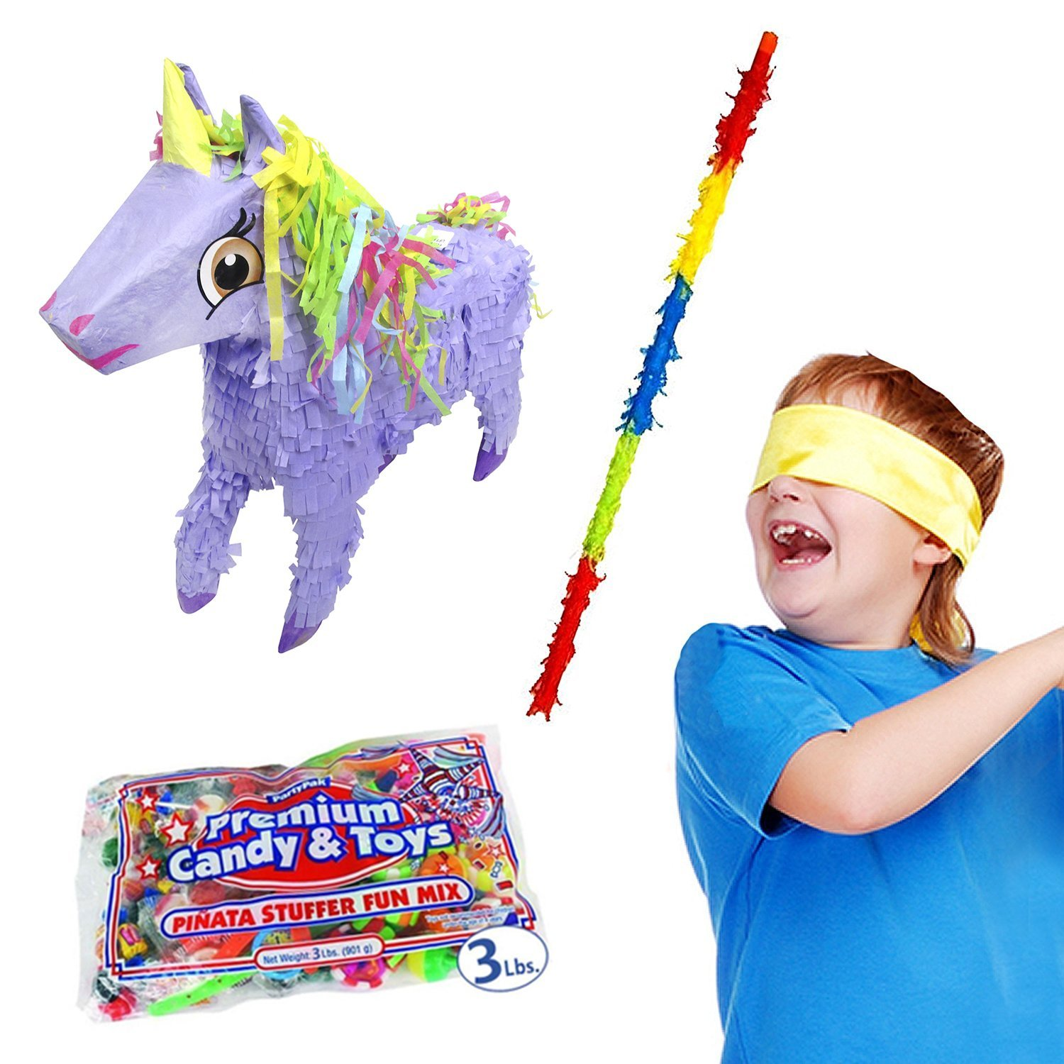 Pinatas Unicorn Kit Including, Buster Stick, Bandana, 3 lb. Toy and Candy Filler
