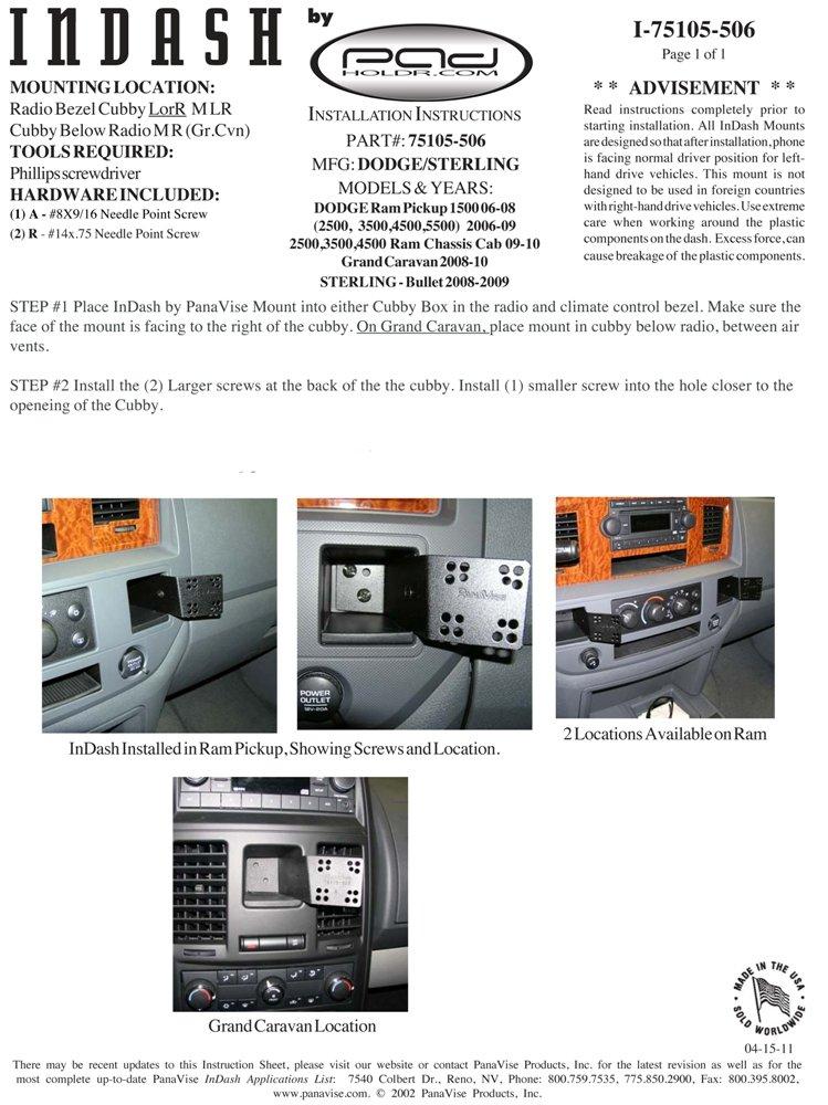 Padholder Eco Series iPad Dash Kit without Charging Dock for 2008-2010 Dodge Grand Caravan Pad Holdr PHECO75105-506-1