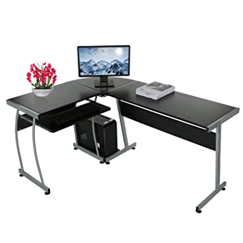Eckschreibtisch Schwarz Mit Tastaturauszug L Förmiger Computertisch