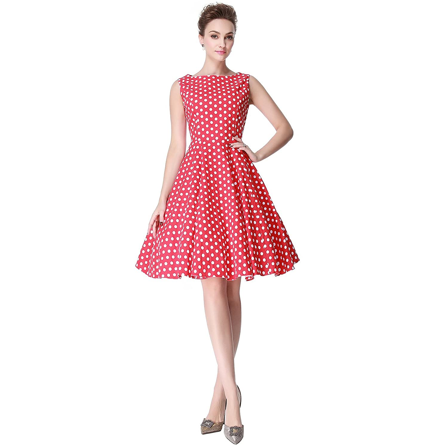 1950s Polka Dot Dresses Heroecol Womens Vintage 1950s Dresses Boat Neck Sleeveless 50s 60s Polka Dot Style Retro Swing Cotton Dress $24.99 AT vintagedancer.com