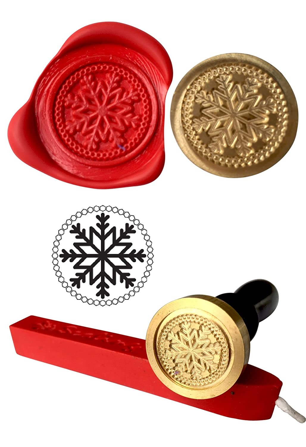 Wax Stamp, SNOWFLAKE Coin Seal and Red Wax Stick XWSC123-KIT (S32) GTR-Gifts
