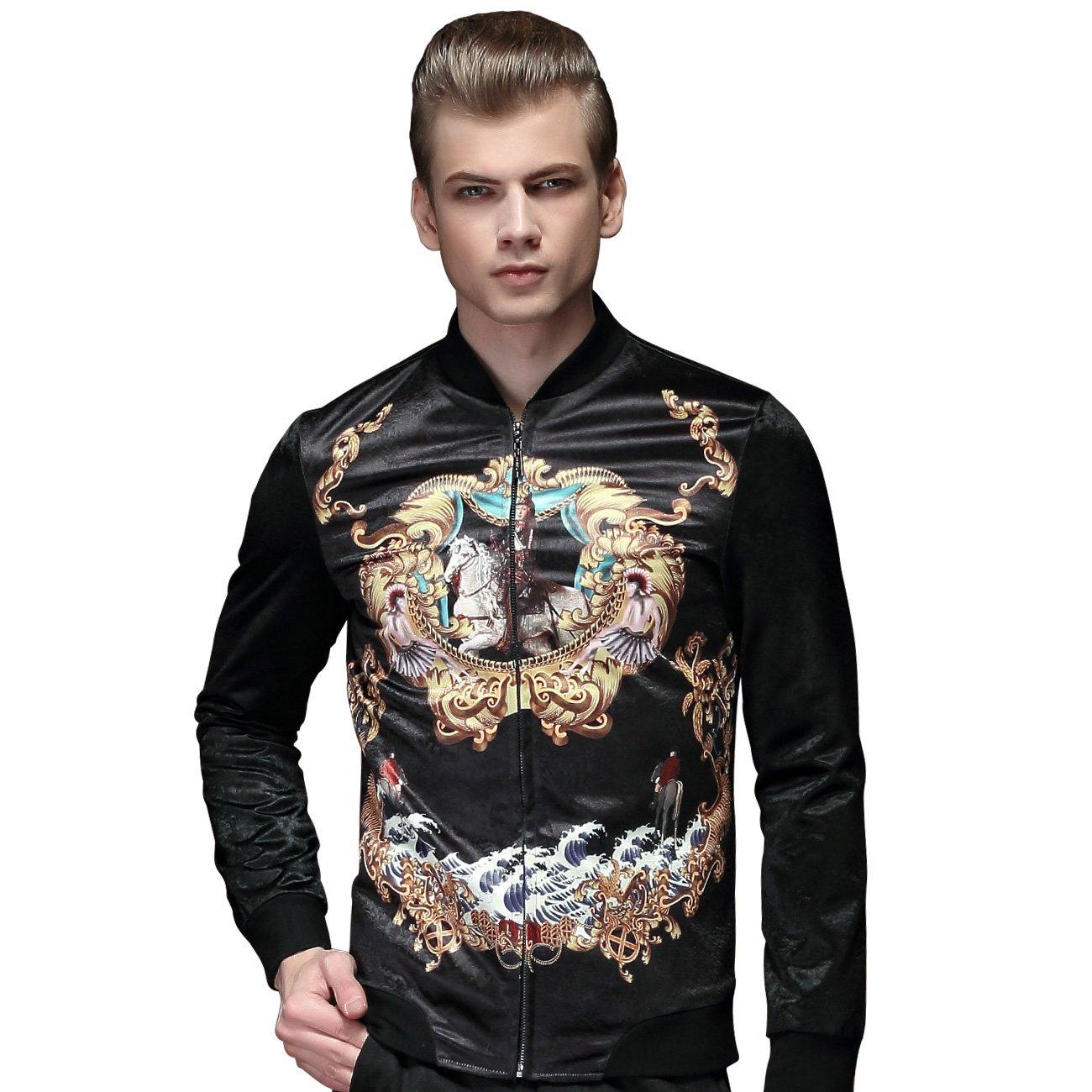 FANZHUAN Spring Mens Fashion Black Printed Jacket Faux Horse Fur Material Slim Fit 15006