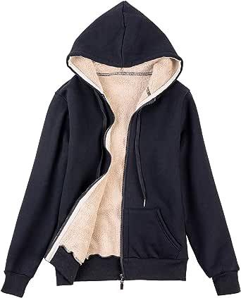 Tanming Women's Casual Warm Sherpa Lined Zip Up Hooded Jacket Coat Fleece Sweatshirt