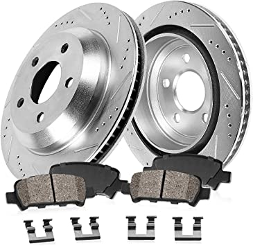 MKS Lincoln Flex Fit Ford Taurus Rear Black Slotted Brake Rotors+Ceramic Pads