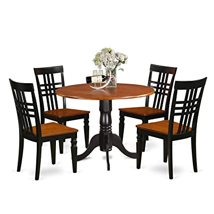 Amazon East West Furniture DLLG48BCHW 48 PC Dining Table Set Awesome Four Dining Room Chairs