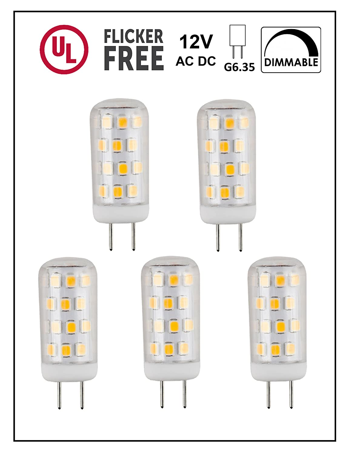 CBConcept UL Listed 12 Volt G6.35 LED Light Bulb 5 Pack 3 Watt Dimmable 330 Lumen Warm White 3000K 360° Beam Angle 35W Equivalent JC Bi Pin Halogen Replacement Bulb
