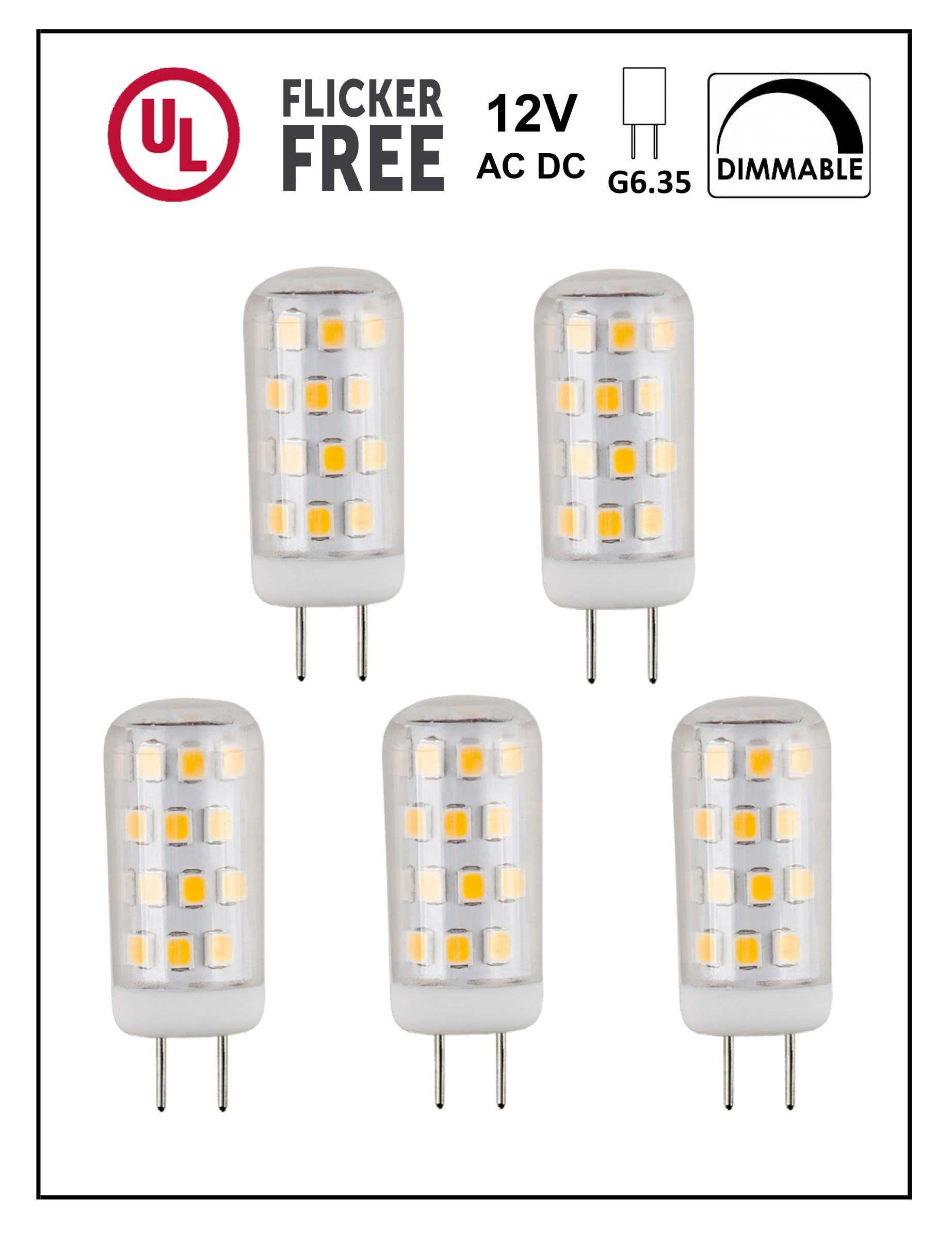 CBConcept UL-Listed, 12 Volt G6.35 LED Light Bulb, 5-Pack, 3 Watt, Dimmable, 330 Lumen, Warm White 3000K, 360° Beam Angle, 35W Equivalent, JC Bi-Pin Halogen Replacement Bulb