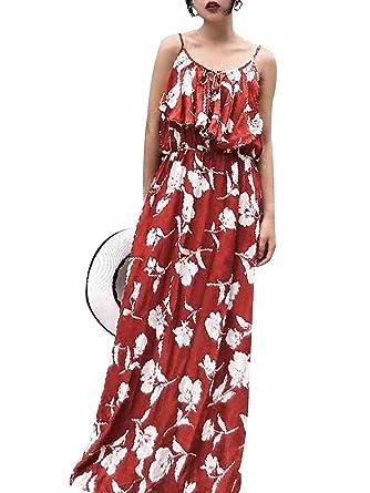 60118833f5528e Terryfy Damen Sommer Lang Kleid Sexy Boho Elegant Spaghettiträger .