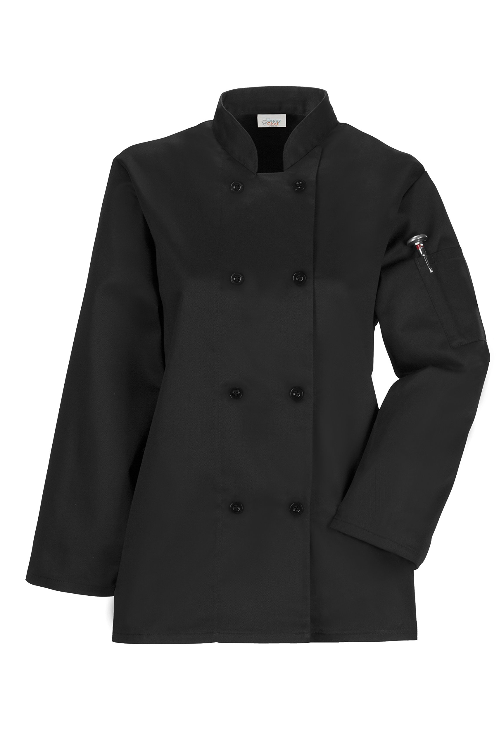 Happy Chef Women's Traditional 3/4 Sleeve Chef Coat (Black, XX-Large)