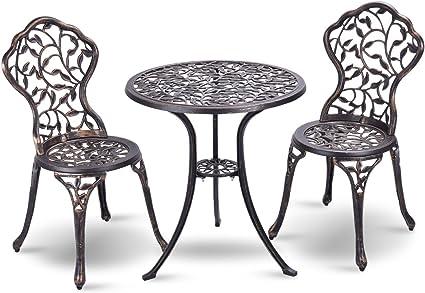 vengaconmigo ensemble bistrot de jardin avec une table ronde o 60 cm et deux chaises en aluminium forge table bistrot de jardin avec des motifs