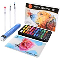 Watercolour Paint Set, 36 Colours with 3pcs Water Brush Pens, 1pc Nylon Paint Brush, 8 Sheets 300g Watercolour Paper, Lightweight and Portable for Kids, Adults, Artists, Beginners