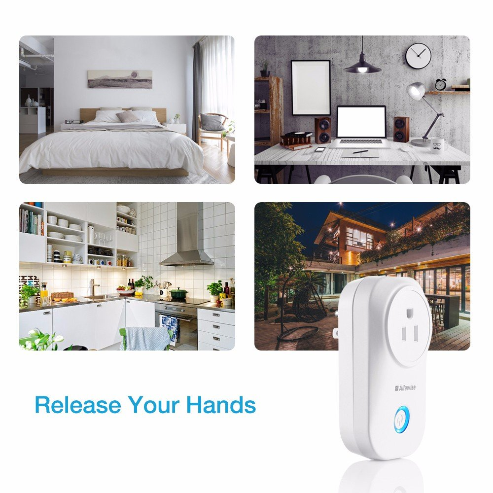 Smart Plug, Alfawise Smart Wi-Fi Plug Wireless Outlet, Smart Timing Socket Compatible with Alexa, Timing Function, Remote Control Appliances from Anywhere by Alfawise (Image #4)