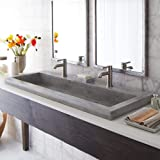 "Native Trails NSL4819-A Native Stone Trough Bathroom Sink, 48"" x 19"", Ash, Dual Faucet Hole"