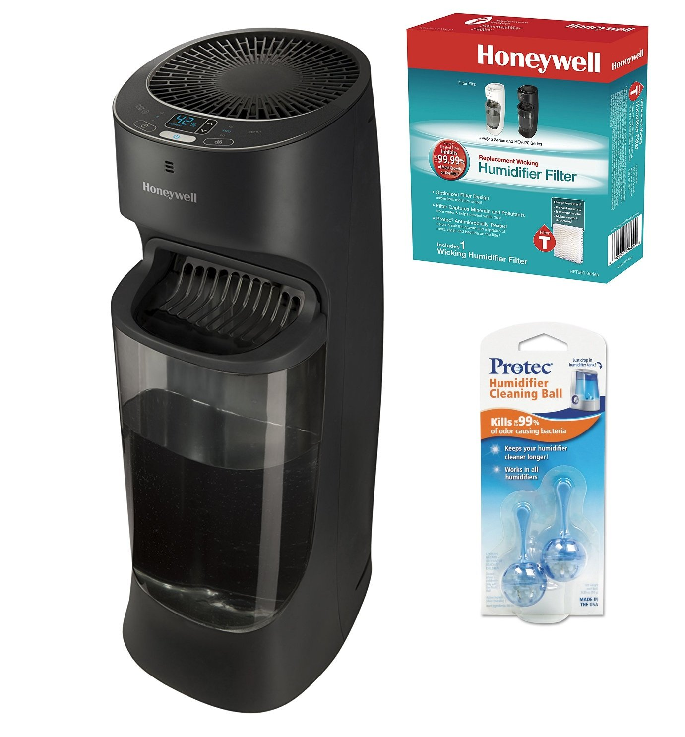 Honeywell HEV620B Top Fill Tower Humidifier with Digital Humidistat, Black W/ Extra Filter and ProTec Cleaning Cartridges