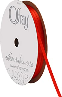 """product image for Offray 1/8"""" Wide Double Face Satin Ribbon, 30 Yards, Red"""