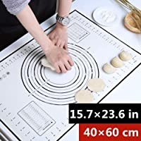 [2PACK] 40x60CM Roasta Non-Stick Silicone Baking Mat Kneading Pad Sheet Glass Fiber Rolling Dough Large Size for Cake Macaron Kitchen Tools and 3PCS Dough Scrapers (40x60, Black)
