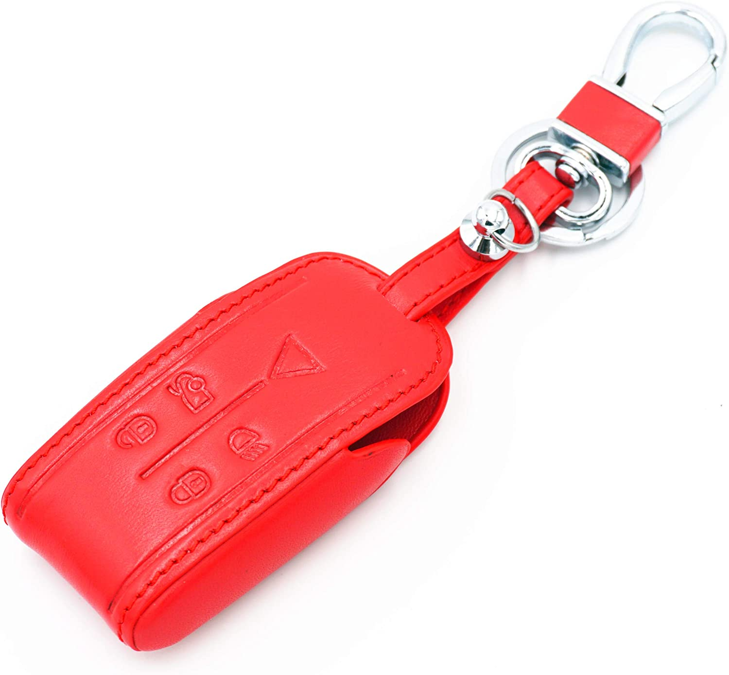 WFMJ Red Leather for Jaguar XK8 S-Type Super V8 X-Type XF XFR XJ XJ8 XJR XK XKR 5 Buttons Smart Key Chain Cover Case Fob