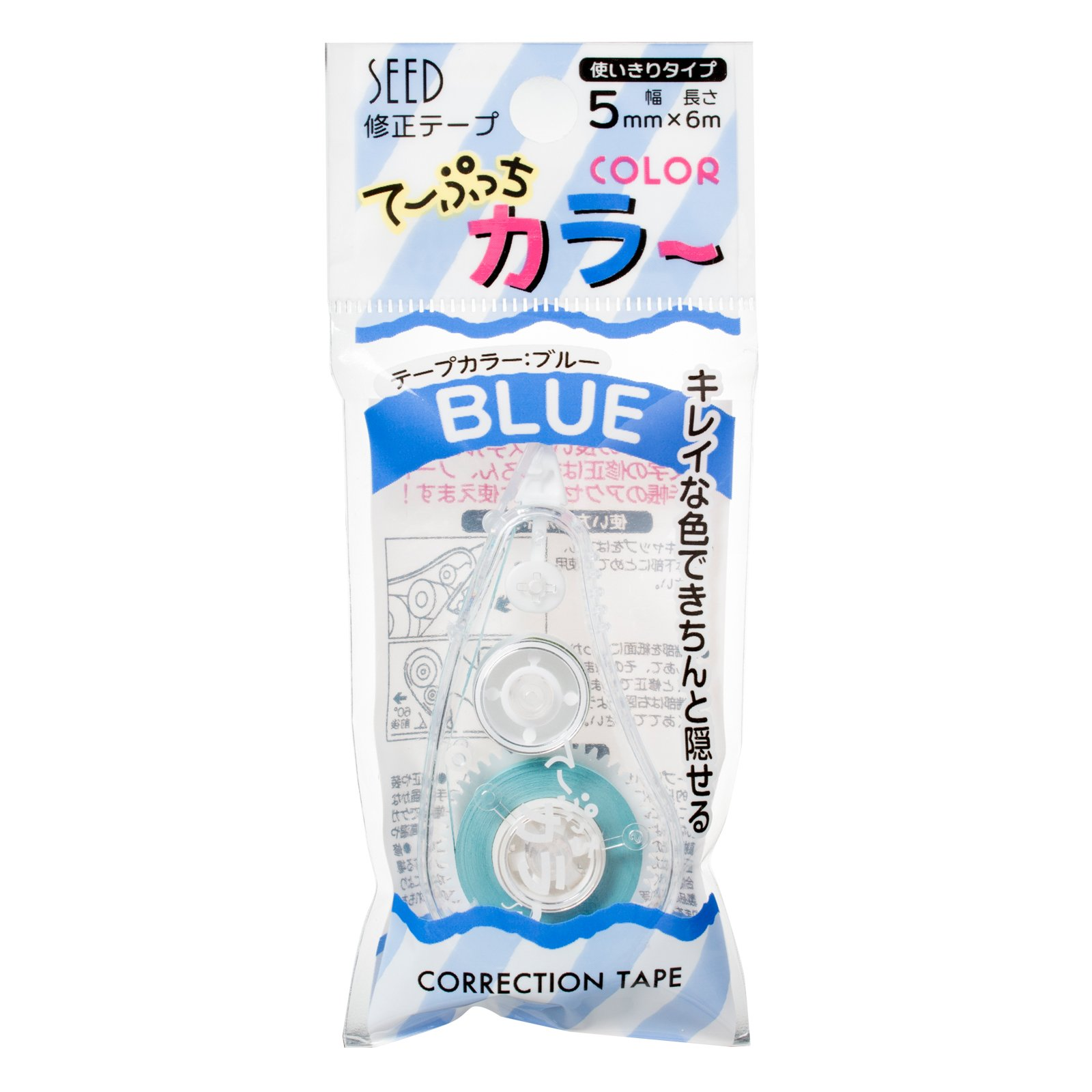 Seed correction tape Teputchi color KW-CCT5B-10P Blue by Seed (Image #1)